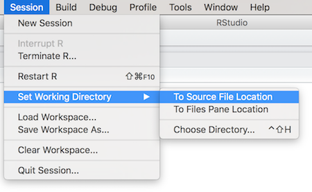 Use Session > Set Working Directory to change the working directory through R Studio