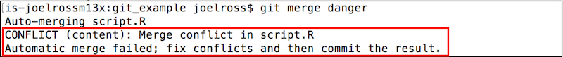 A merge conflict reported on the command-line