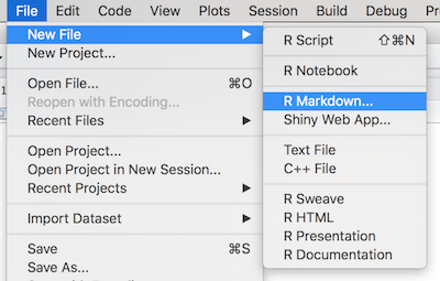 Create a new R Markdown document in RStudio.